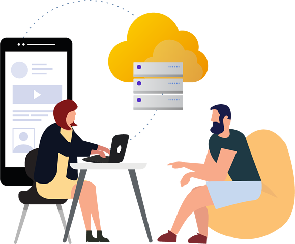 Two persons plan a cloud strategy