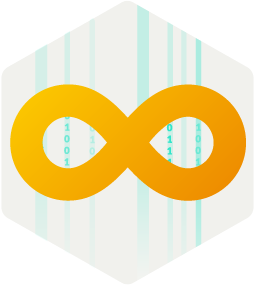 A DevOps loop with zeros and ones in the background