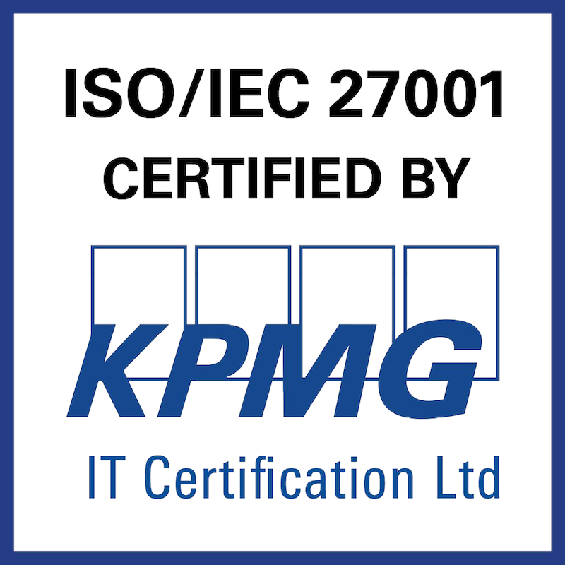 ISO27001 Certified by KPMG