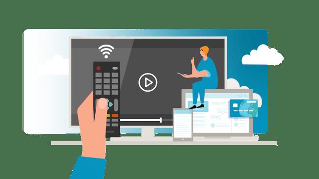 Kuvassa on symboleja, jotka kuvastavat esteettömysdirektiiviä. Symbolit kuvastavat pankkipalveluita,  audiovisuaalisia mediapalveluita sekä sähköisiä- ja mobiilipalveluita.
