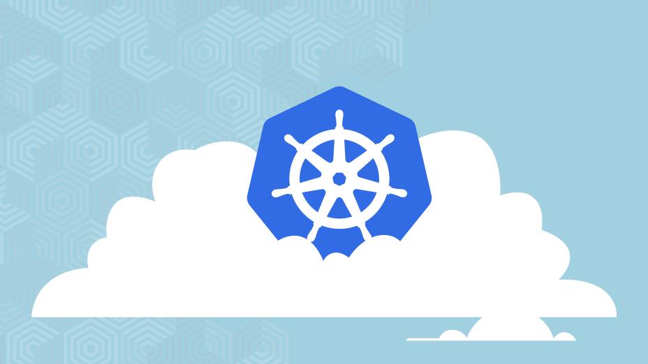 A kubernetes logo on a cloud