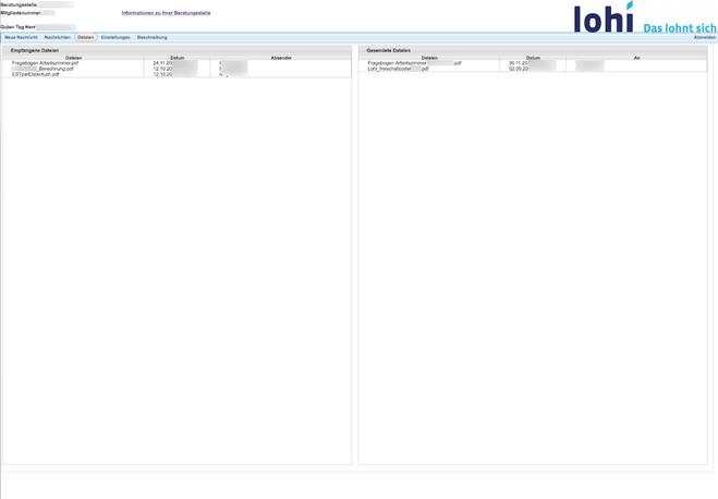 Käyttöliittymä, jossa oikeassa yläkulmassa veroneuvontapalvelun logo LOHI - das lohnt sich ja yläreunassa navigointivalikko ja muutama rivi tekstiä. Suurin osa näytöstä on tyhjä.