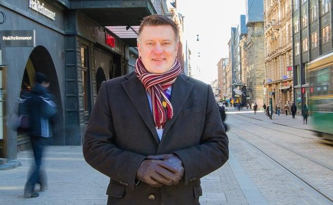 Man standing in a street in Helsinki