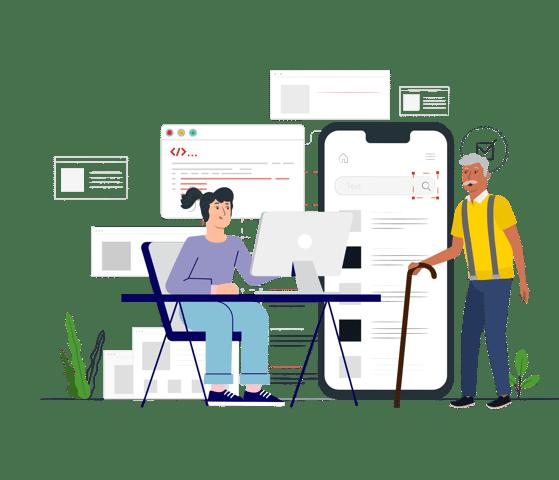 Kuvassa vanha mies ja nuori UX-suunnittelija