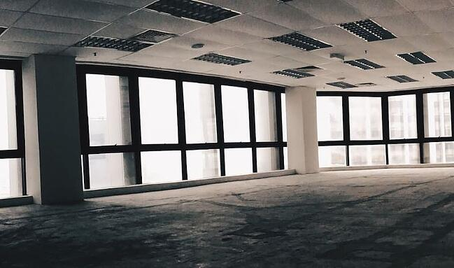 Empty workplace without servers or office furniture