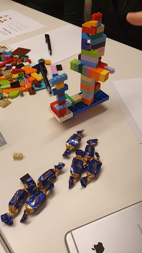 Fazer sweets were on the table during a LEGO®4DEVOPS workshop