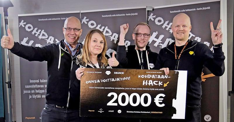 Eficode osallistui hackiin viiden hengen tiimillä, johon kuuluivat Jussi Kirkkopelto, Raino Vastamäki, Tanja Pelkonen, Toni Järvinen sekä allekirjoittanut.