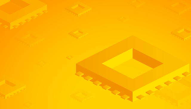 microchip on yellow background