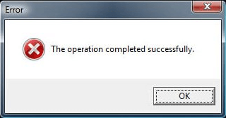 error screen 'This operation completed successfully)