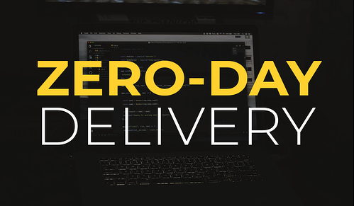Zero-day delivery in front of a laptop showing code