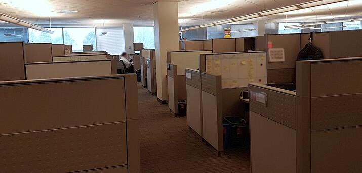 An empty office with desks