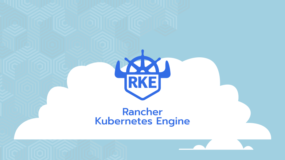RKE logo on a cloud - blue background with hexagon pattern