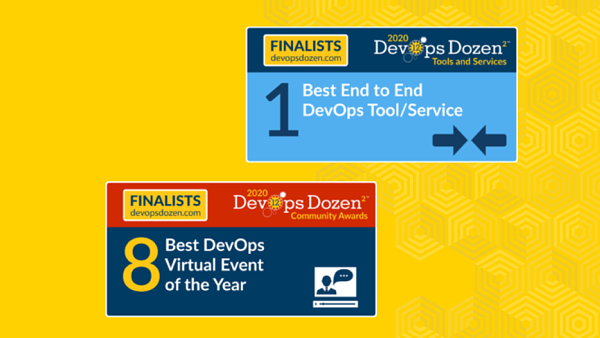 Banners of Best End to End DevOps Tool/Service and Best DevOps Virtual Event of the Year on a yellow background