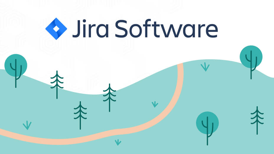 Jira Software logo with a trail on a green mountain - Eficode illustration by Sanni