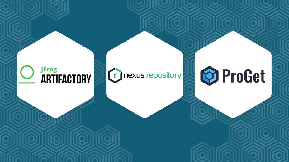3 logos in 3 hexagons: Jfrog artifactory, Sonatype nexus and Proget