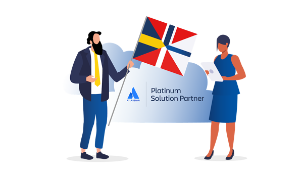 Two persons, one holds a flag mixed with 4 nordic flags and there's an Atlassian platinum partner logo on a cloud