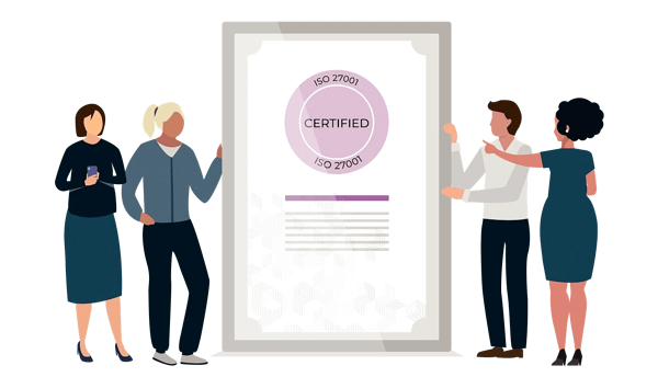 4 people hold a huge paper with the ISO 27001 certification