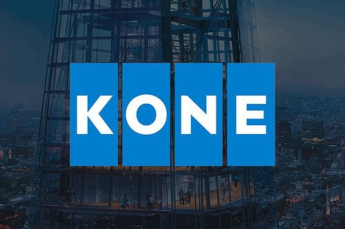 KONE logo on a city background
