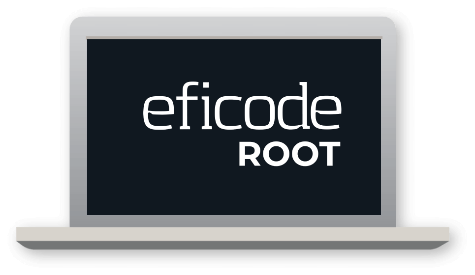 Eficode ROOT logo on a laptop