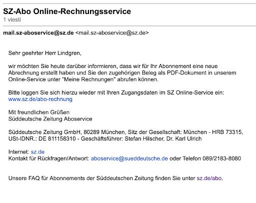 Kuvassa sähköposti Süddeutsche Zeitung -lehdeltä, jossa pyydetään lataamaan pdf-lasku lehden verkkopalvelusta.