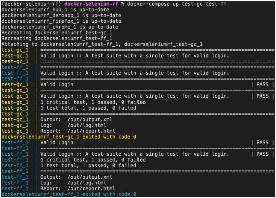 docker test run browsers