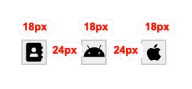 kolme 18 pikselin levyistä ikonipainiketta, joiden välissä on 24 pikseliä tilaa.