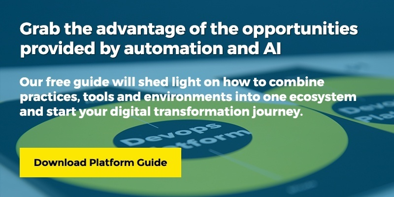 Grab the advantage of the opportunities provided by automation and AI. Our free guide will shed a light on how to combine practices, tools and environments into one ecosystem and start your digital transformation journey. Download Platform Guide.