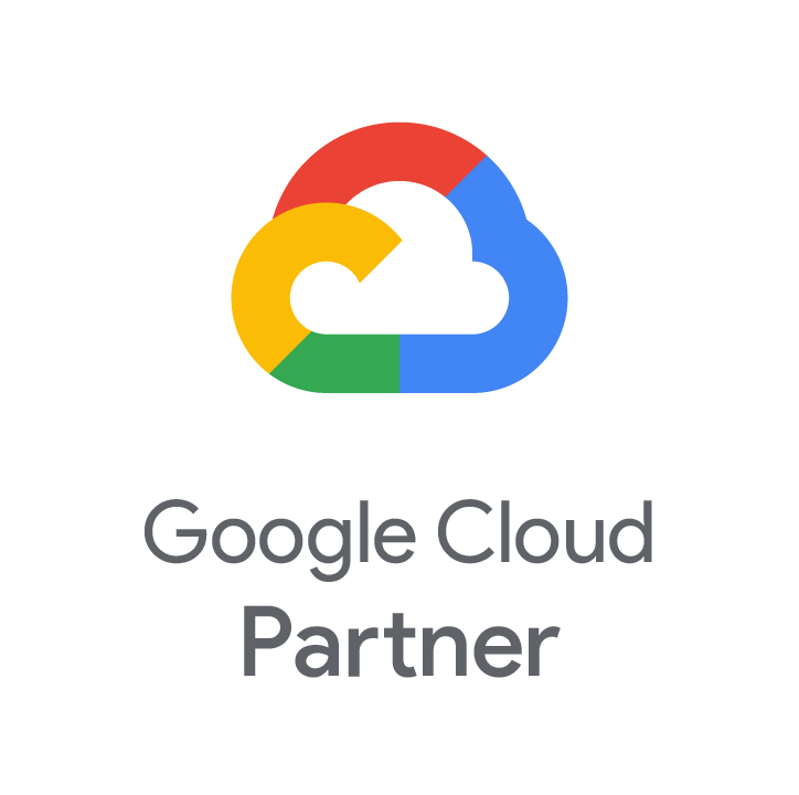 Google cloud partner logo on a grey background with hexagon patterns