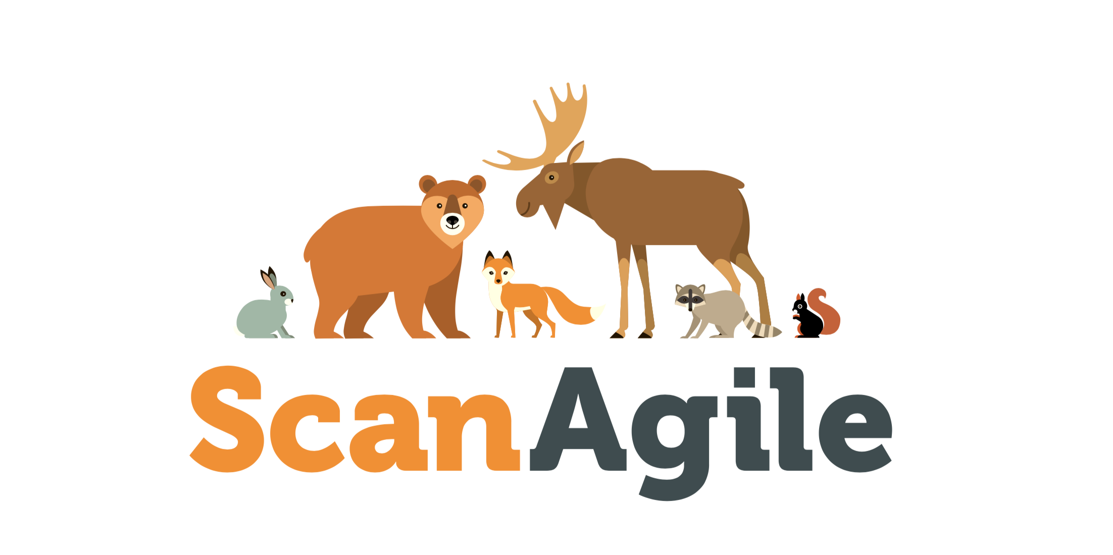 ScanAgile is an Agile Practices conferences represented by a cartoon bear, a cartoon moose, and a cartoon squirrel