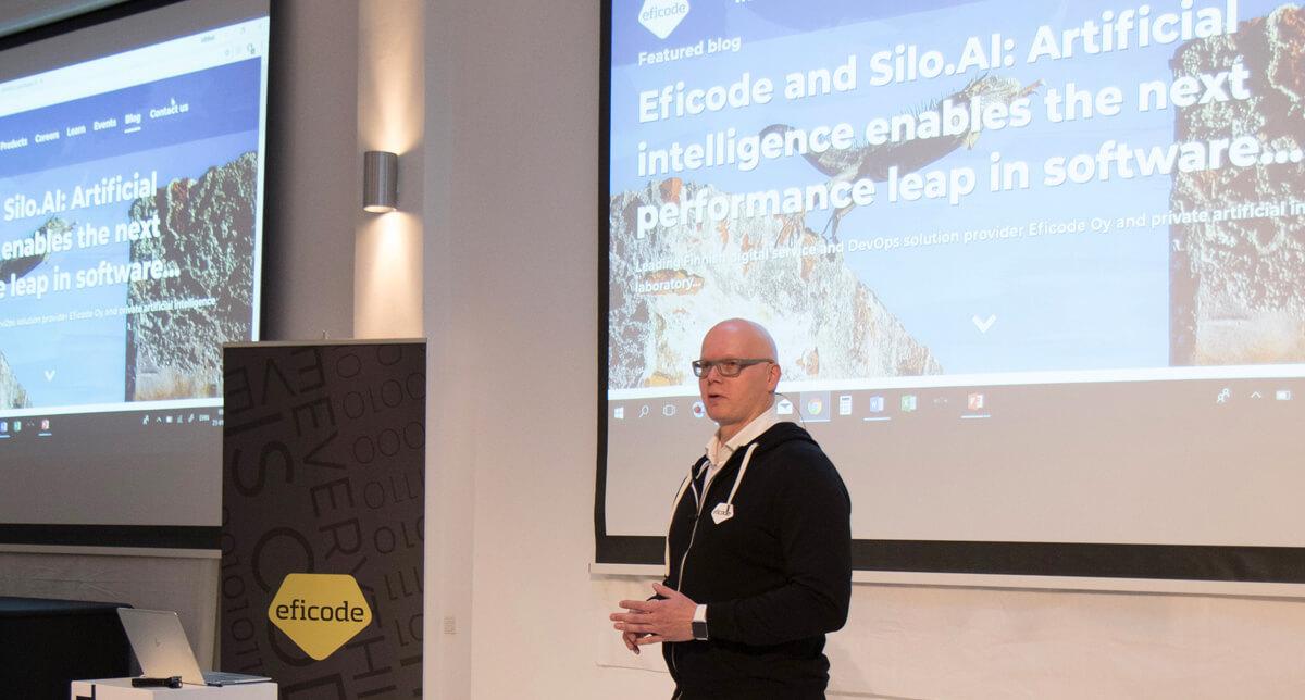 Heikki Hämäläinen, COO of Eficode, speaking at a conference