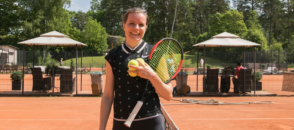Saara, Eficode's CTO, on the tennis court